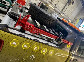 Bed rack spare wheel carrier